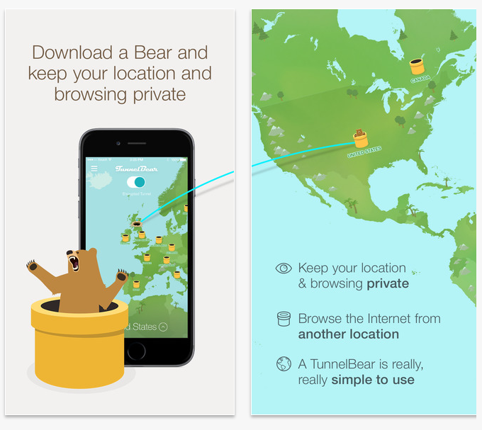 TunnelBear VPN mobile app