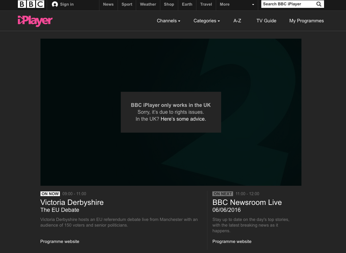 BBC notification that to watch iPlayer abroad is impossible