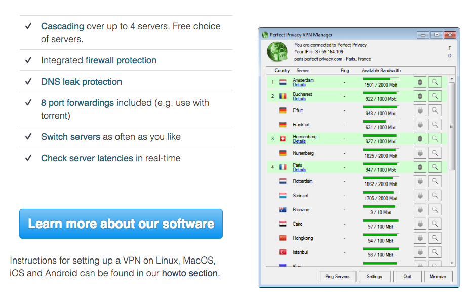 Perfect Privacy VPN review and features