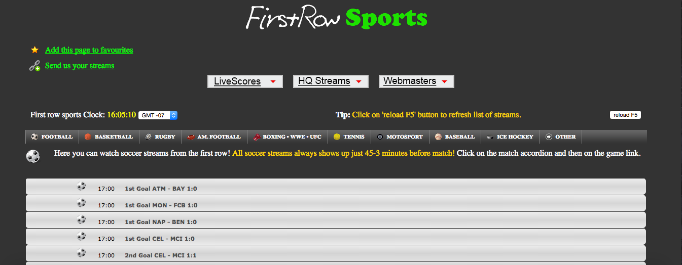 Live stream sports with FirstRowSports
