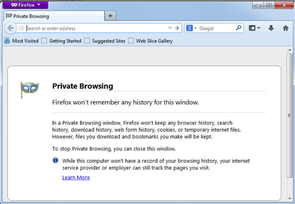 Incognito mode for private browsing