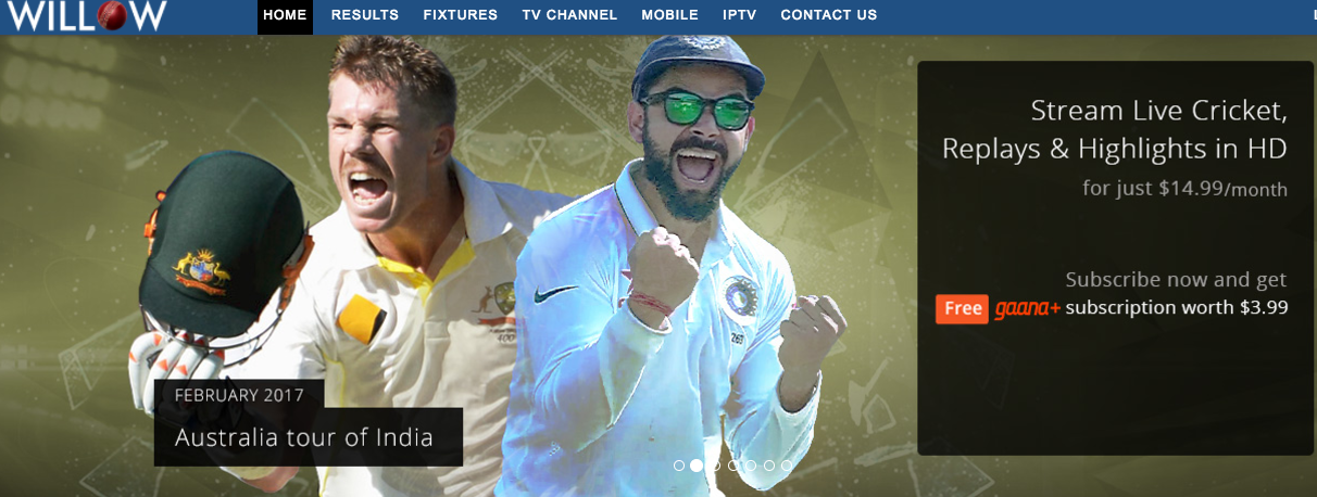 Live cricket match streaming willow tv