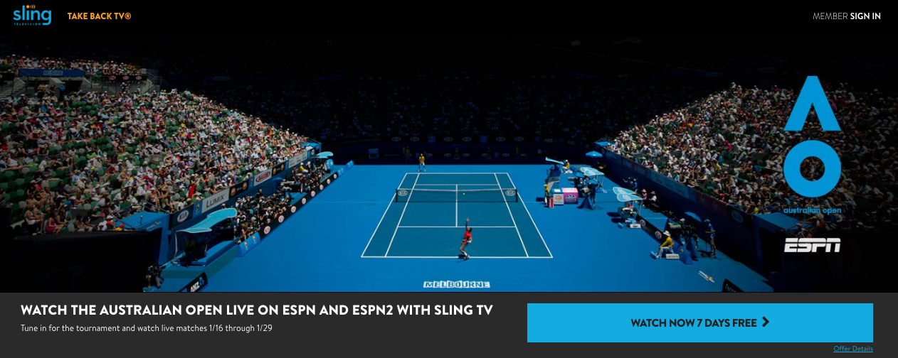 Stream Tennis Live on Sling TV