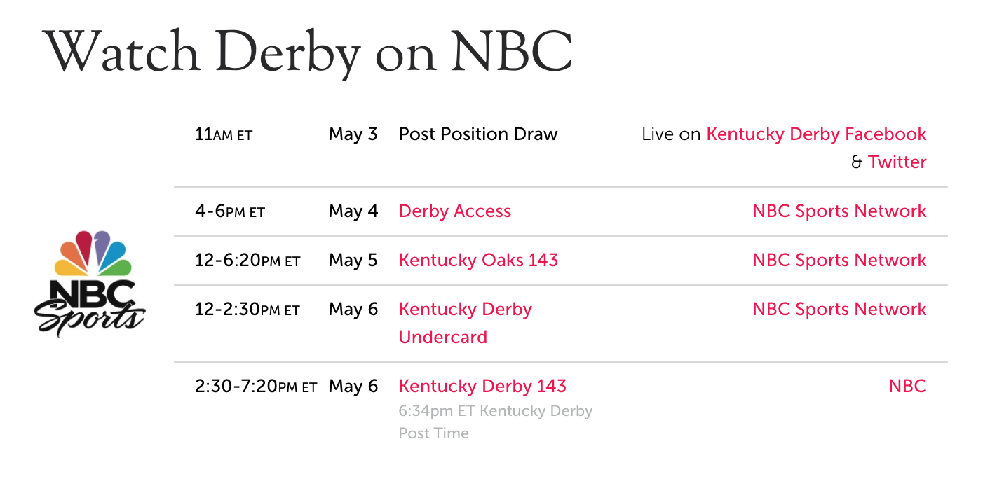 Live Stream Kentucky Derby on NBC