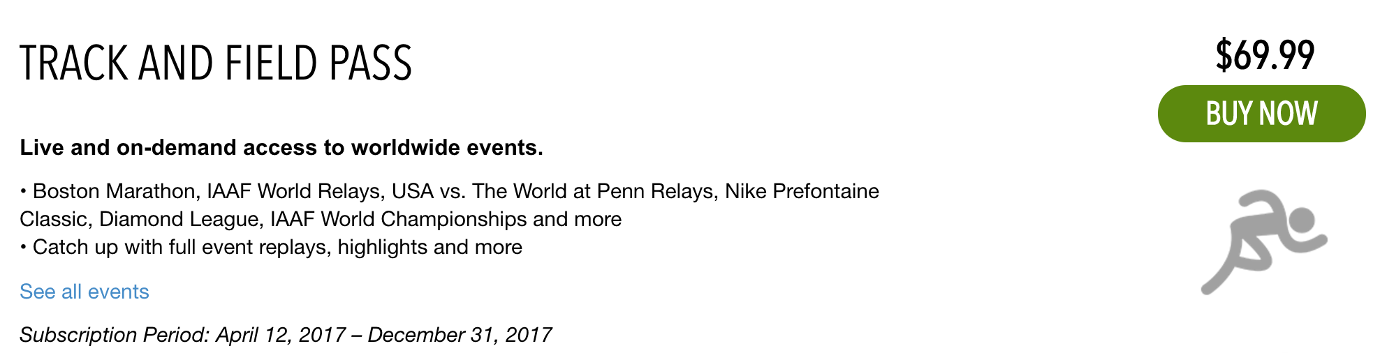 NBC Diamond League Track and Field Pass